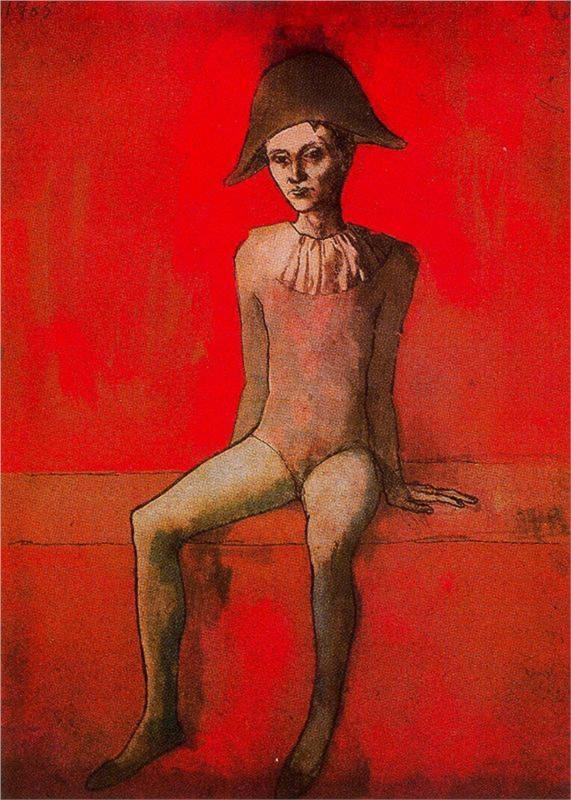 Seated harlequin - Pablo Picasso - WikiPaintings.org