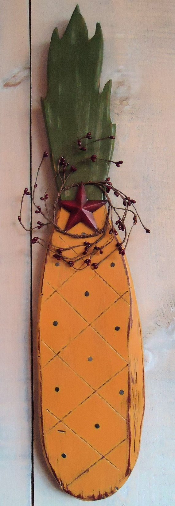 Primitive Pineapple Wall Hanging Handmade by ModerationCorner, $20.00