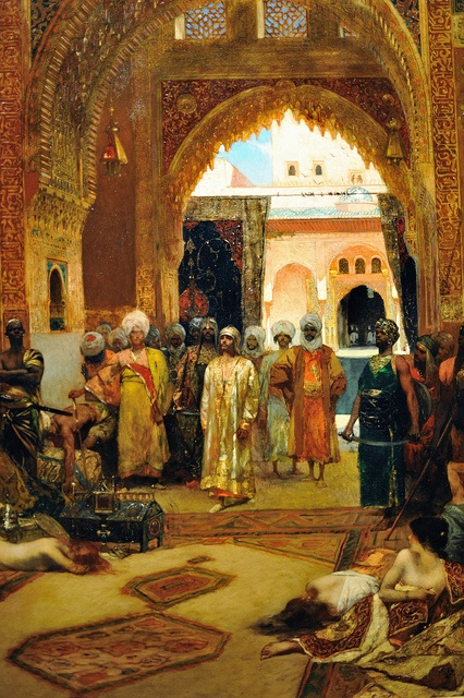 orientalismus: Jean Joseph Benjamin Constant The Day after a Victory at the Alhambra 1882 Oil on panel 132.1 x 106 cm