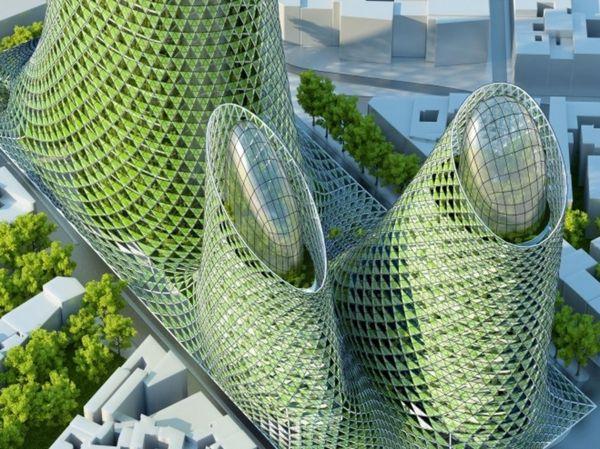 treibhausgase futuristische wolkenkratzer
