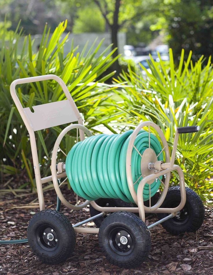 4 Wheel Garden Hose Reel Cart Tan Industrial 300 Commercial Home Water | eBay