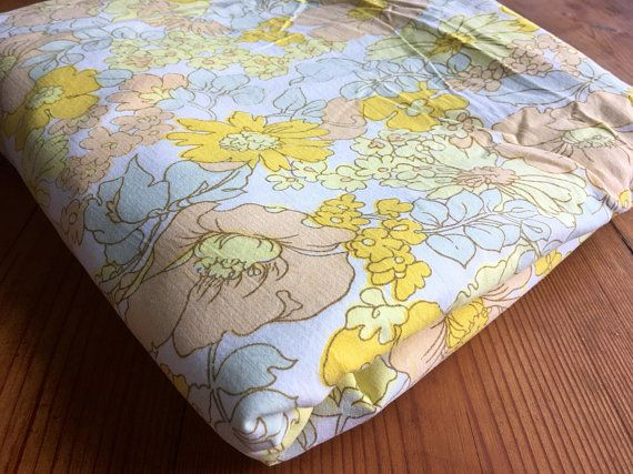 Vintage Bed Sheet-1970's-Double bed sheet-Retro