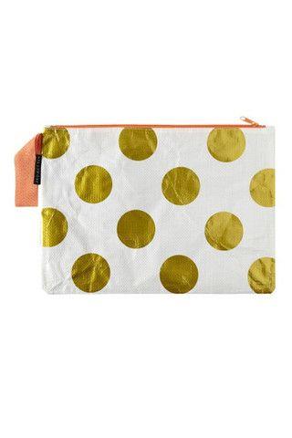 Project Ten Gold Polka Dot Envelope Zip Pouch