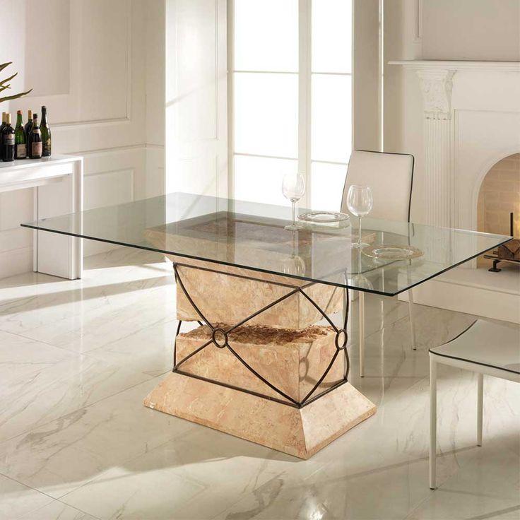 designer esstisch glasplatte holzbasis – dogmatise, Esszimmer dekoo