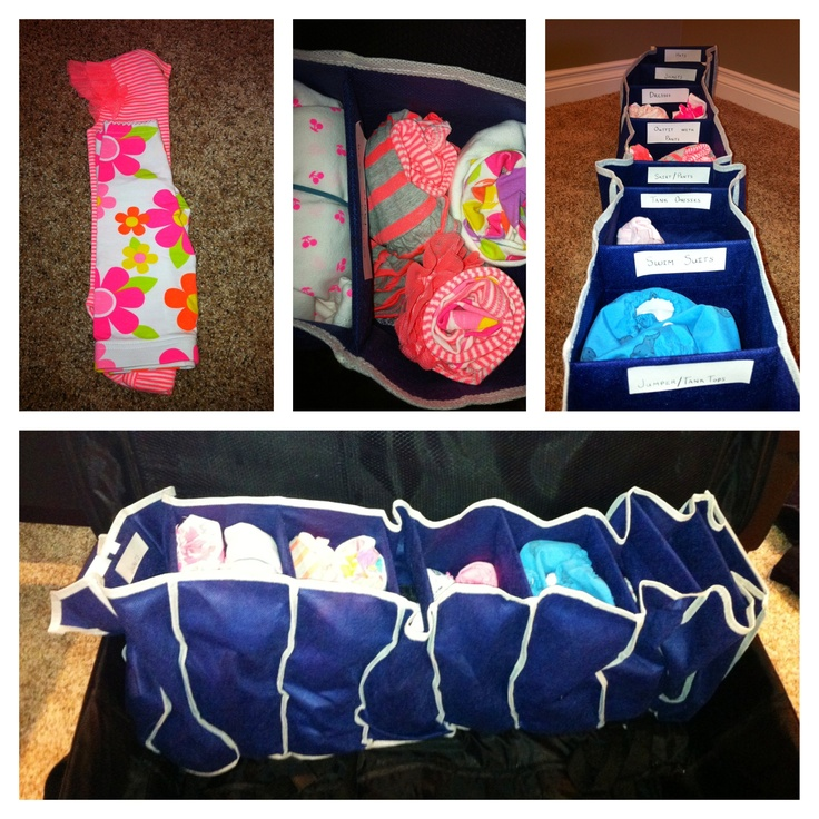 Packing baby for hot holiday- Shoe rack from Dollarama, sort outfits/clothes, roll then put elastic band around, sort into sections, put into suit case. Creates more room for diapers, blankets, beach toys.... While keeping things organized:)