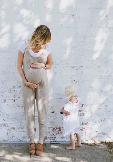 neutrals | jumpsuit | brick walls | family | mother daughter | medium length hair