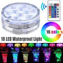 1X Dompelpompen 10LED Waterdichte Licht RGB Voor Vaas Basis Bruiloft Aquarium Decor Lamp + Afstandsbediening(China (Mainland))