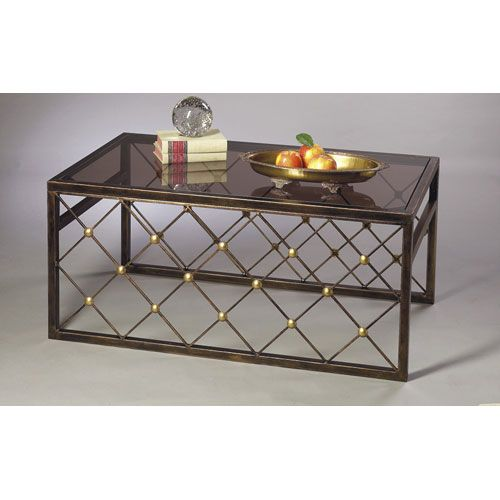 Steve Silver Company Lucia Cocktail Table Brown Home Buttons And Brass