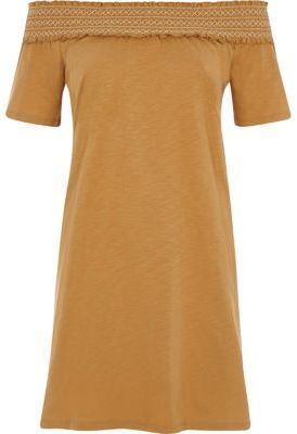 River Island Womens Light brown shirred bardot top