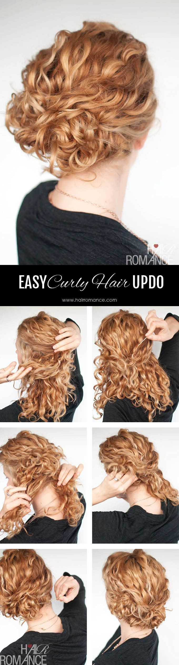 Super easy updo hairstyle tutorial for curly hair: Separate a section on top of your head down to around your temples. Give it a twist at the back and pin it in place with bobby pins. I like to leave it loose to keep some volume on top. Next take a section of curls near your left ear and twist them over and around the first bobby pins. Pin them in place with bobby pins. Depending on how much hair you have, split the rest of your hair in 2-4 sections. Twist each section up into a loose bun…