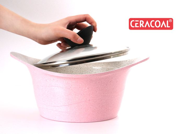 CERACOAL - Lava Casserole / Stockpot - 18/20/22/24/26/28cm available / Pink stone marble for extra durability / reinforced stone marble coating