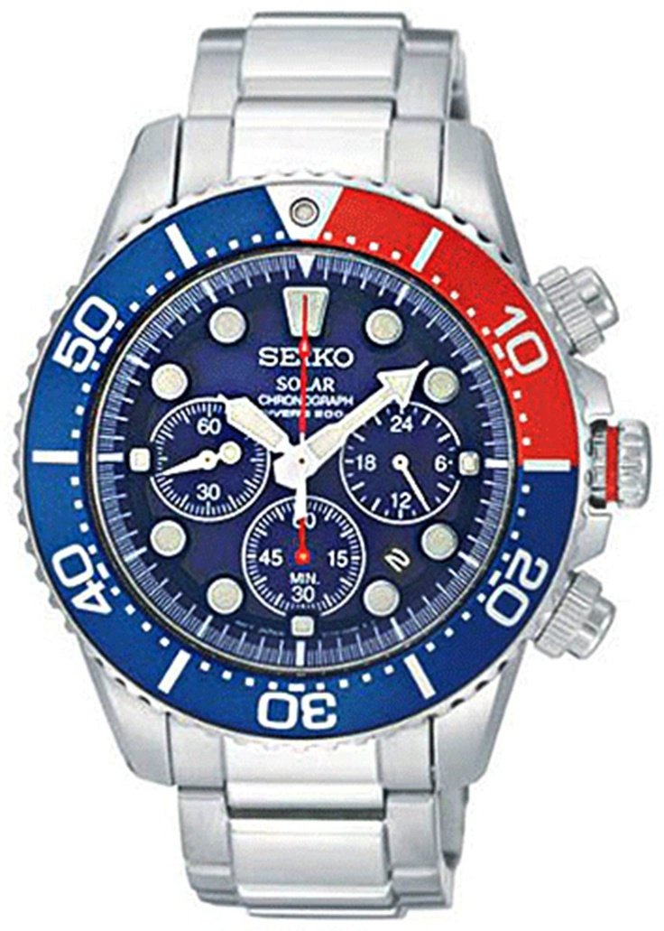 Seiko Men's SSC019 Solar Diver Chronograph Watch: Watches: Amazon.com