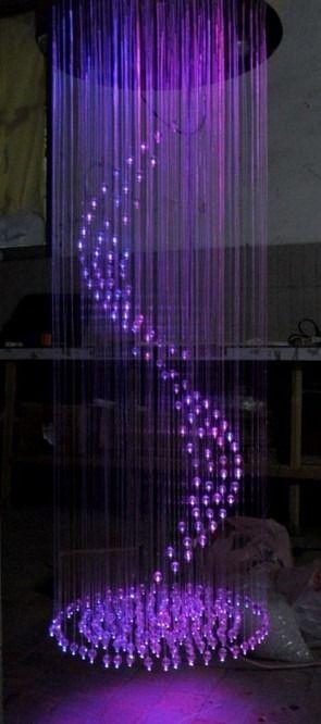 Purple Optic Fiber Chandelier
