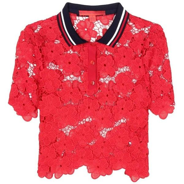 Tommy Hilfiger Lace Polo Shirt ($325) ❤ liked on Polyvore featuring tops, red, lace top, tommy hilfiger, red polo shirt, red top and polo shirts