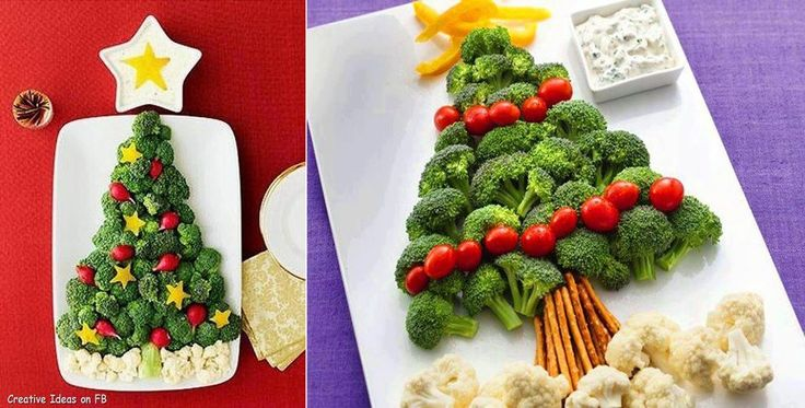 Christmas tree arrangement with broccoli, cauliflower, pepper and tomatoes on plate