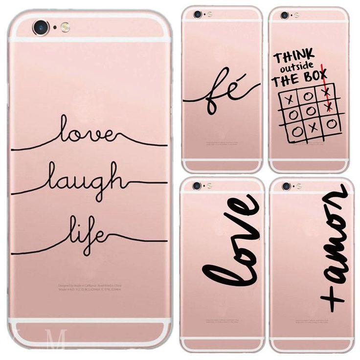Para 5c iphone 6 6 s plus 6 más 4 4S 5 5S sí único Portugués Palabras Amor amor Diseño Transparente Cubierta de la Caja Del Teléfono Del Silicio Suave