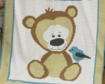 CROCHET Pattern Baby Blanket Pattern Puppy di PatternWorldUK