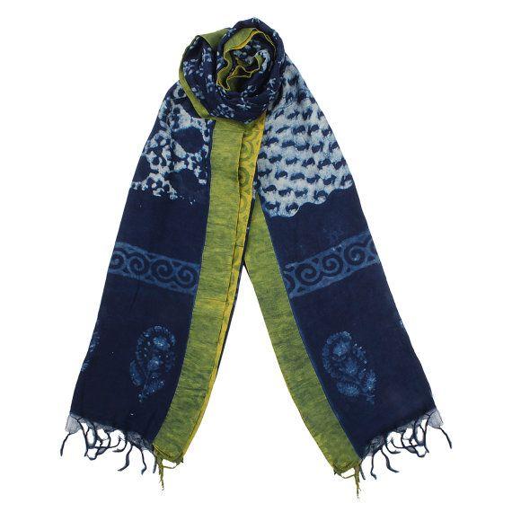 Natural Bagru dyed Indigo scarf .