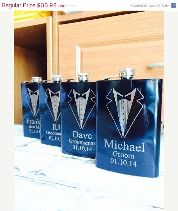 Set of 7 Engraved Flasks, Personalized Groomsmen Gift,, Black Engraved Flasks,8 oz. Hip Flask on Etsy, $118.93