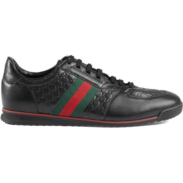 Gucci Leather sneakers with Web (573,885 KRW) ❤ liked on Polyvore featuring men's fashion, men's shoes, men's sneakers, black, mens leather sneakers, mens black leather sneakers, mens black sneakers, gucci mens sneakers and mens rubber sole shoes