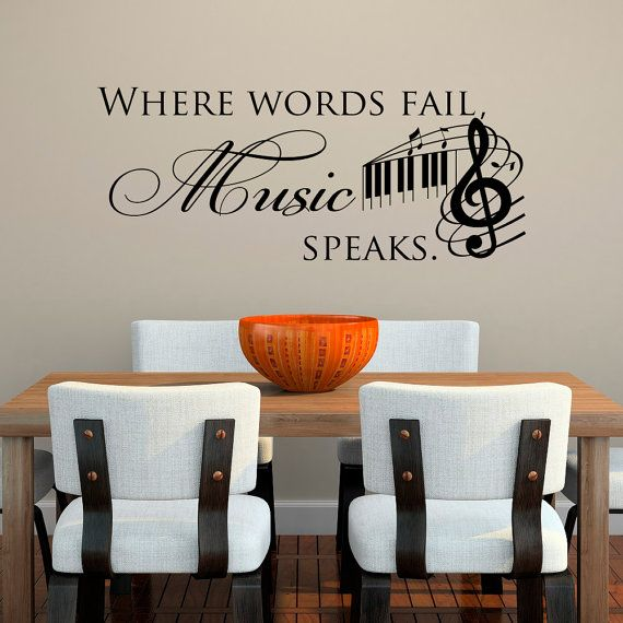 Music Decal Music Wall Decal Quotes Where Words Fail Music Speaks Wall Decal Music Notes Wall Art Music Notes Wall Decor Home 078