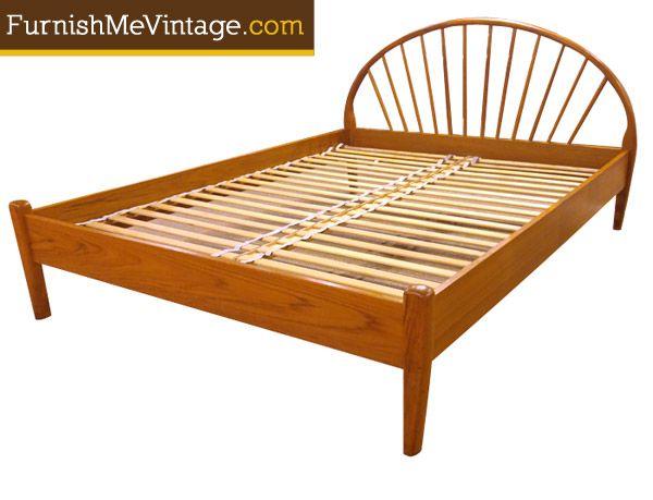 vintage danish teak platform bed by jespersen this queen size bed fits a standard queen
