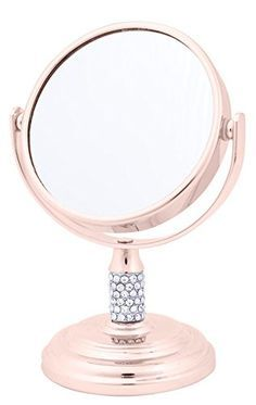 Danielle Enterprises 4X Magnification Dual Sided Crystal Studded Vanity Mirror, Mini, Rose Gold