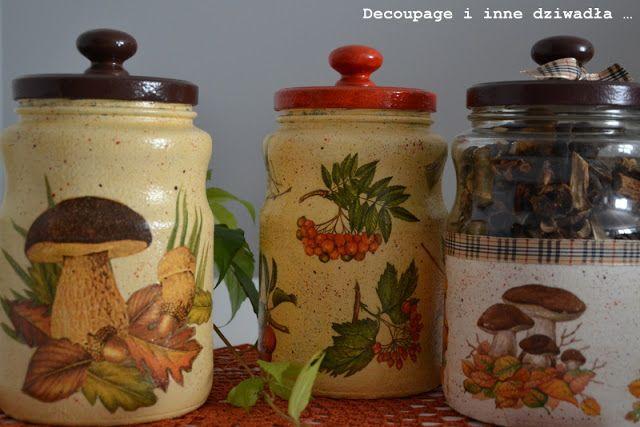 decoupage i inne dziwadła ...: Słoiki decoupage na grzyby