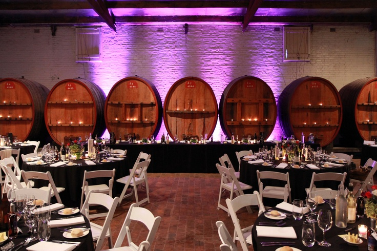The Barrel Hall set up for a function at All Saints Estate with modern lighting