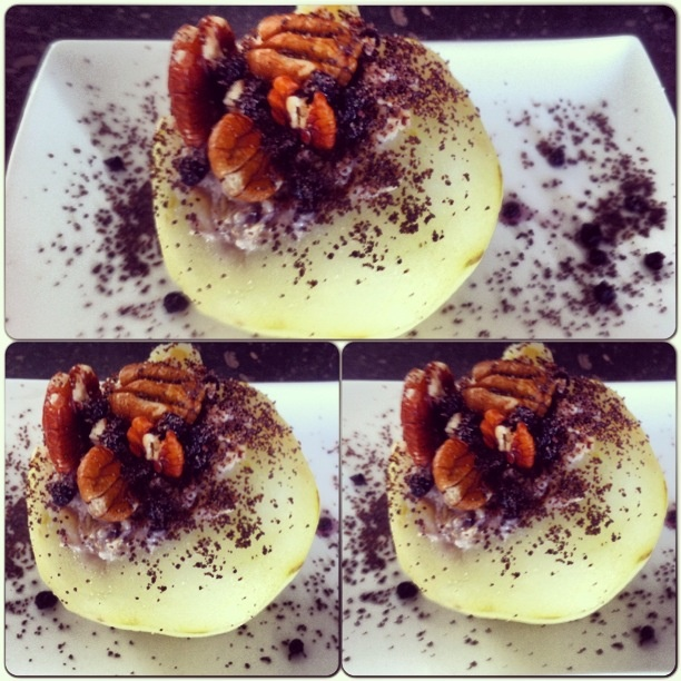 Clean Dessert Stemed pear Filled with almond milk,chia, pecan walnuts, organic oats lil bit of honey and dried bluberries.