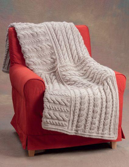 Easy Aran Squares knitted blanket