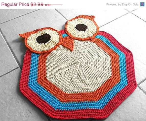 Pattern Crochet Owl Accent Rug Nursery By Whisperedwhimsy