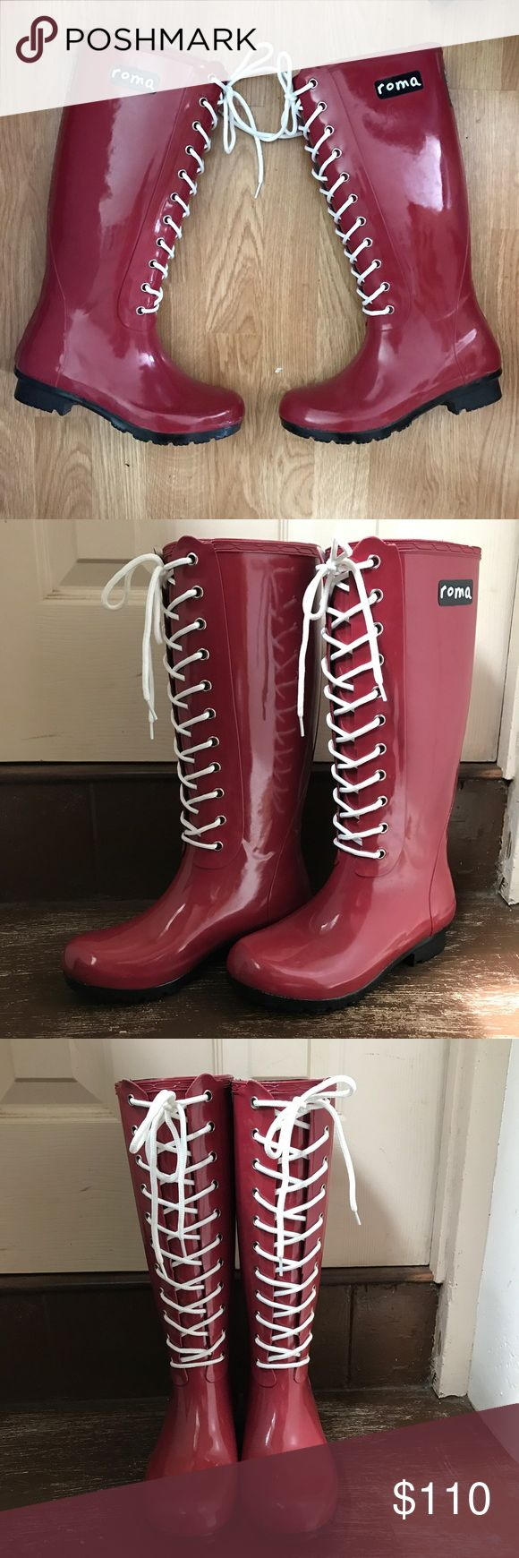 Roma Red Rubber Rain Boots Size 6 Sadie Robertson Roma Boots: For you. For all. Weight 4 lbs Roma Sadie Robertson Womens Opinca Rainboot Color : Claret Red Size : 6  A Sadie Robertson original in the lace-up style, this Opinca Claret rain boot blends fashion and durability into all-weather footwear, with a dash of philanthropy on the side. Made from Natural Rubber. Outsole: Traditional Natural Rubber Lining: Quick Dry Knitted Cotton Lining Footbed: Multi-Layer Cushioned Sole Vegan…