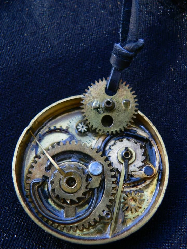 The clock pendant on leather