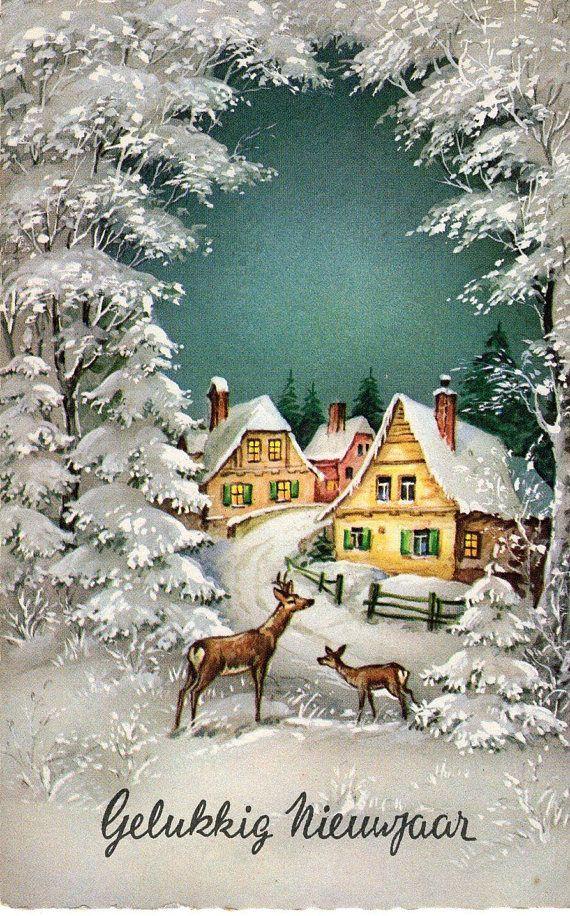 Heureuse Nouvelle Annee Vintage De Carte Postale Salutations Vintage Christmas Greeting Cards Beautiful Christmas Cards Vintage Christmas Cards