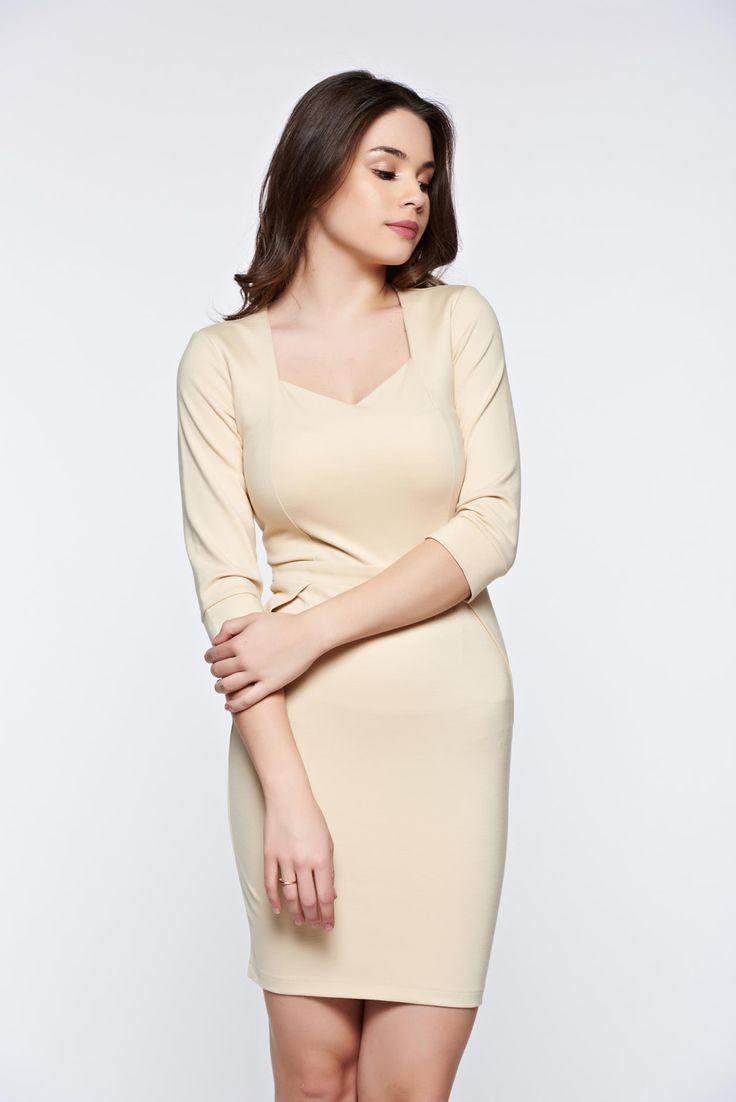 "PrettyGirl cream office pencil dress with v-neckline, back zipper fastening, 3/4 sleeves, ""V"" cleavage, slightly elastic fabric"