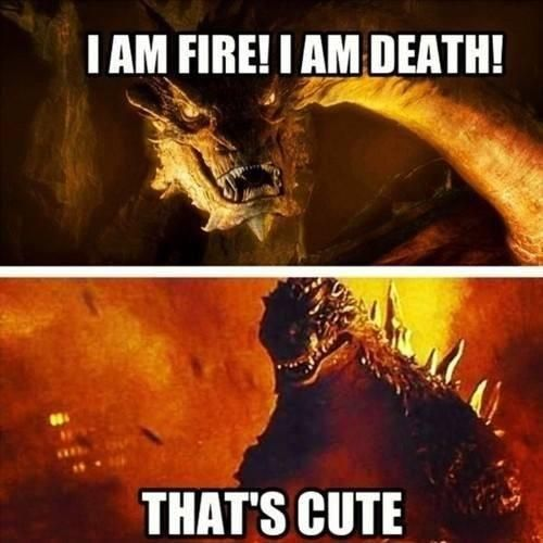 Smaug vs godzilla. I would honestly really like to see this considering their very different heights but Smaug's greater intelligence might win out in the end.
