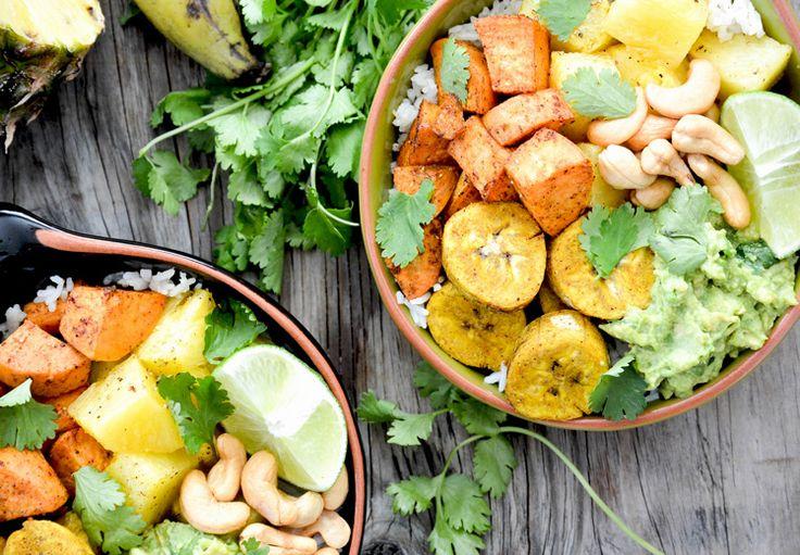 Banane plantin, patate douce, cajou, ananas et riz