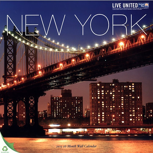 New York Wall Calendar: The ever-bustling metropolis of New York City is featured in this alluring calendar. The Big Apple exerts the perfect blend between business and beauty; it is a melting pot of cultures, creating unique and original views around every corner.  http://www.calendars.com/New-York-City/New-York-2013-Wall-Calendar/prod201300011783/?categoryId=cat00824=cat00824