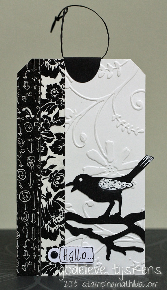 handmade tag by StampingMathilda ... black and white ... washi tape stips ... die cut bird and branch ... luv it!!