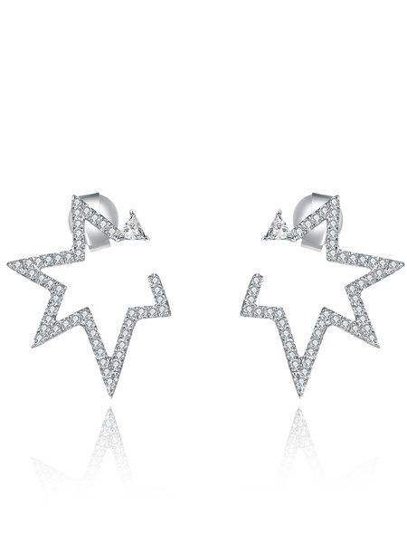 Shop Earrings - Silver Star 925 Sterling Silver Earring online. Discover unique designers fashion at StyleWe.com.