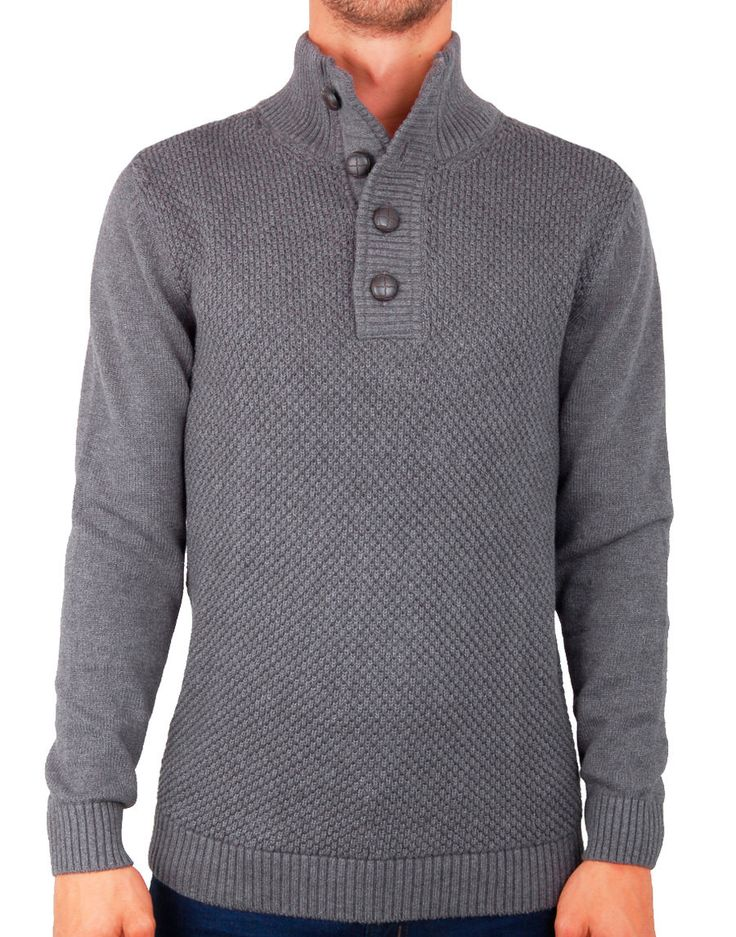 Pull gris col montant Staten - SELECTED - Pulls camionneur SELECTED pour homme…
