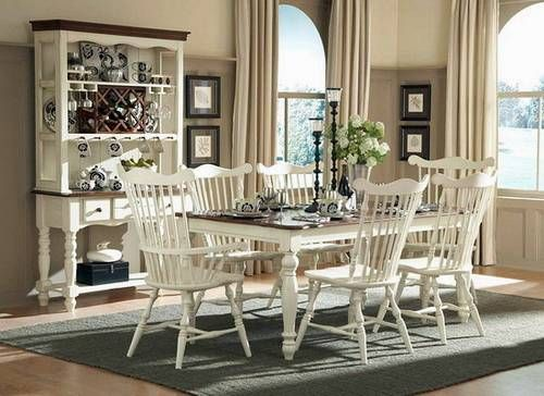 Great Exotic White Furniture American Country Style Dining Room Design