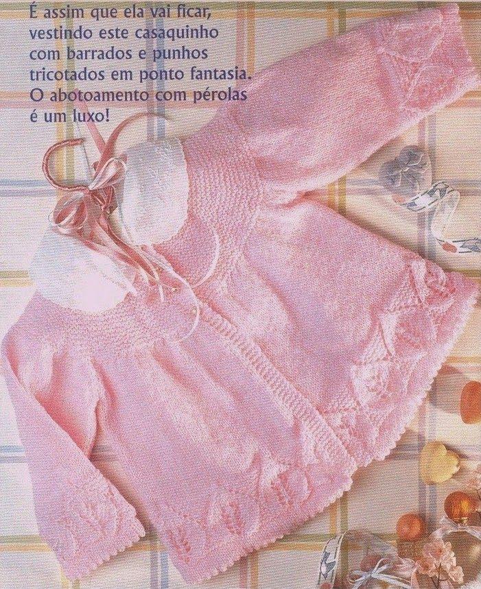 Receita de Tricô: Casaquinho em tricô com pala redonda PAP