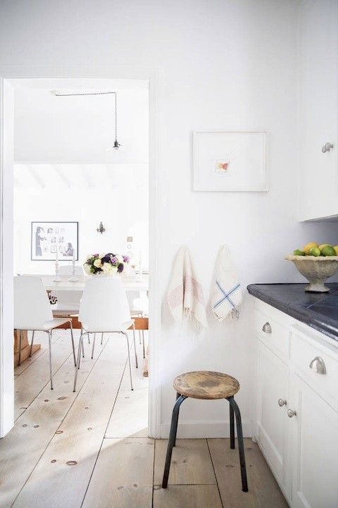 white kitchen, dark countertop
