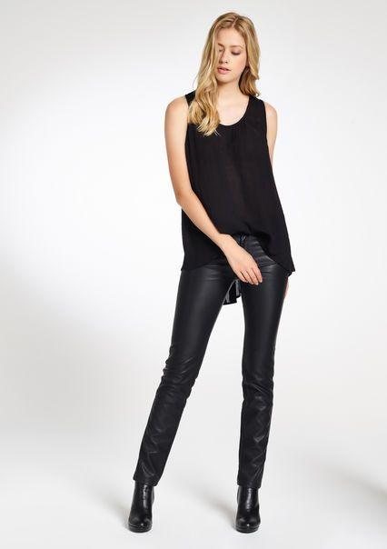 Pantalon 5-poches faux cuir,