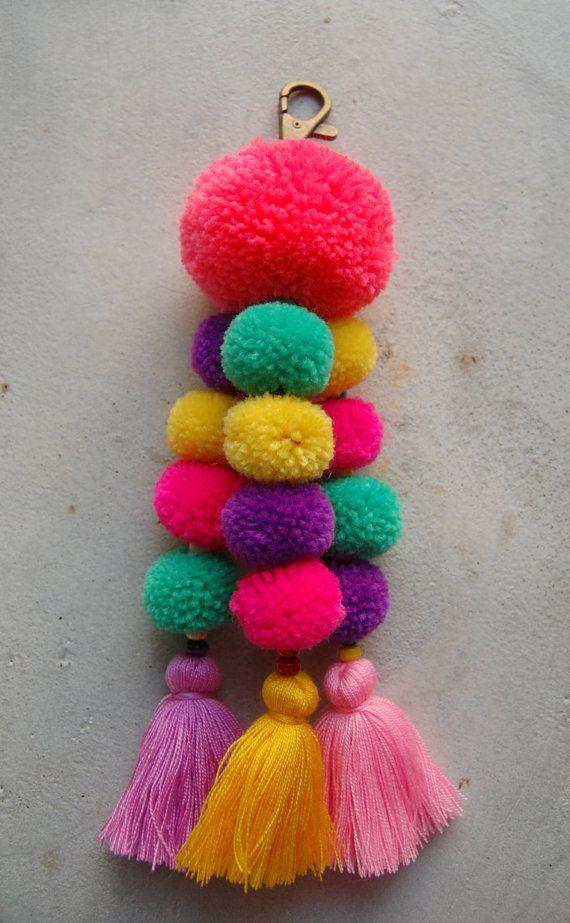 Pink Pom Pom Tassel Beach Bag Accessory by SiamHillTribes on Etsy
