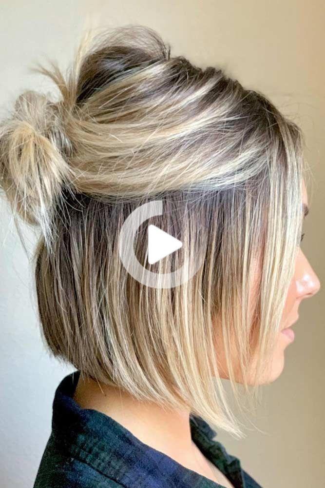30 Easy And Fancy Ideas Of Wearing Hair Bun For Short Hair Short Hair Updo Easy Short Hair Updo Short Hair Bun