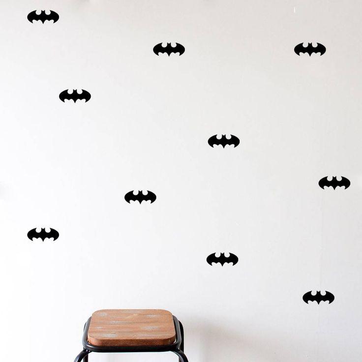 Mevrouw Aardbei 9 muurstickers batman zwart 10 cm