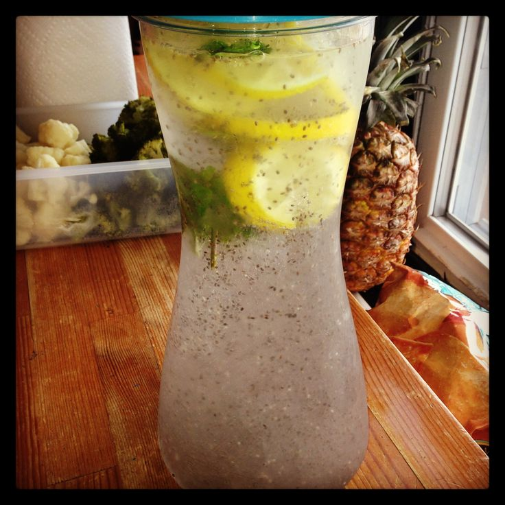 My lemon-mint infused water with chia seeds!!